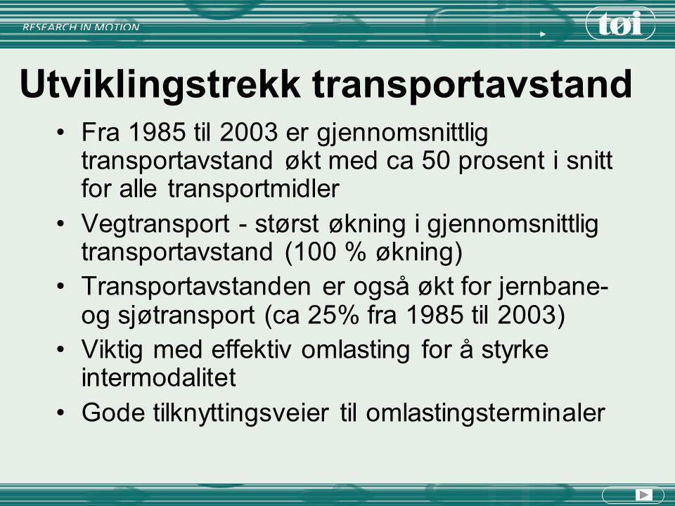 Utviklingstrekk transportavstand