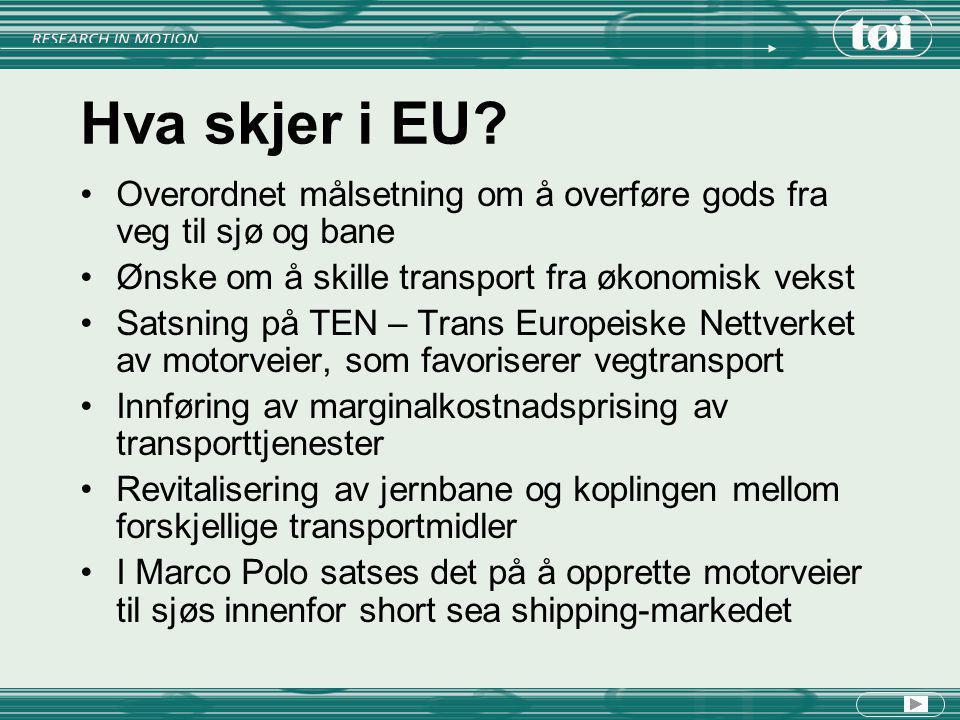 Hva skjer i EU Overordnet målsetning om å overføre gods fra veg til sjø og bane. Ønske om å skille transport fra økonomisk vekst.