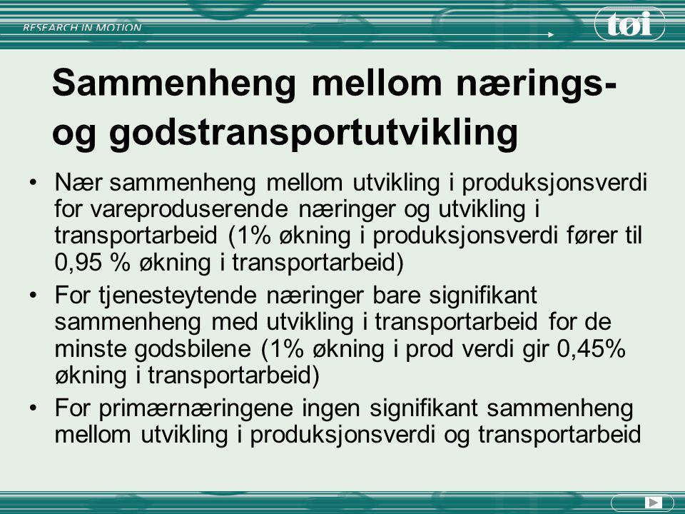 Sammenheng mellom nærings- og godstransportutvikling