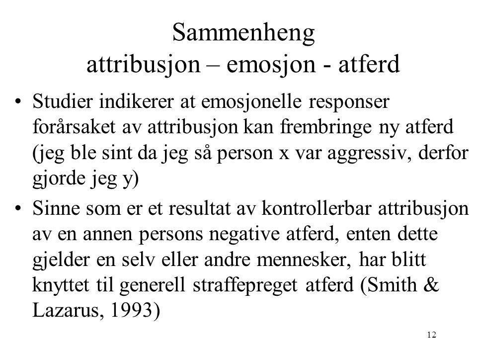 Sammenheng attribusjon – emosjon - atferd
