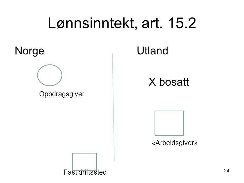 Lønnsinntekt, art. 15.2 Norge Utland X bosatt Oppdragsgiver