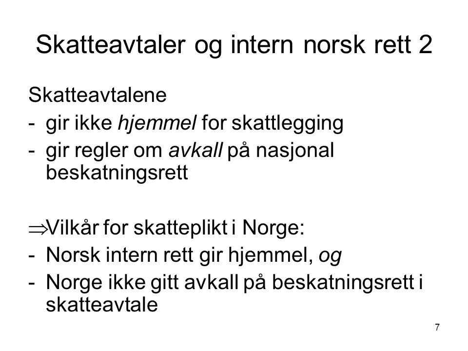 Skatteavtaler og intern norsk rett 2