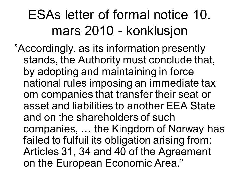 ESAs letter of formal notice 10. mars 2010 - konklusjon