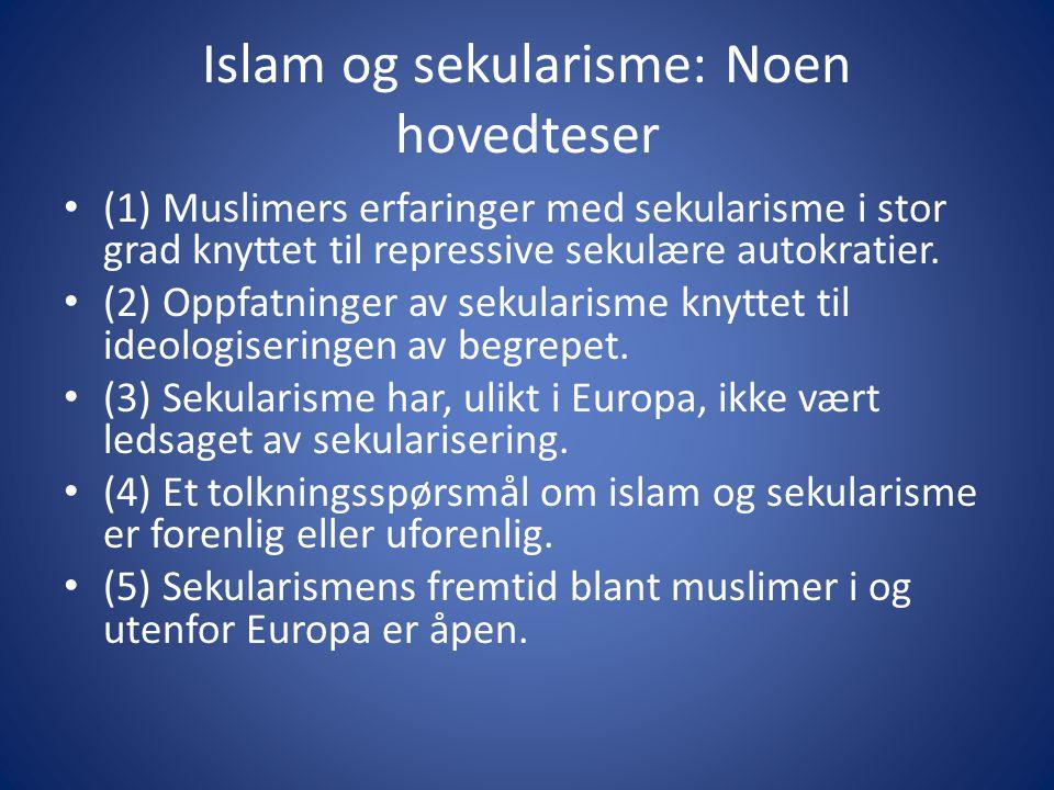 Islam og sekularisme: Noen hovedteser