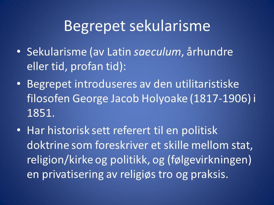 Begrepet sekularisme Sekularisme (av Latin saeculum, århundre eller tid, profan tid):