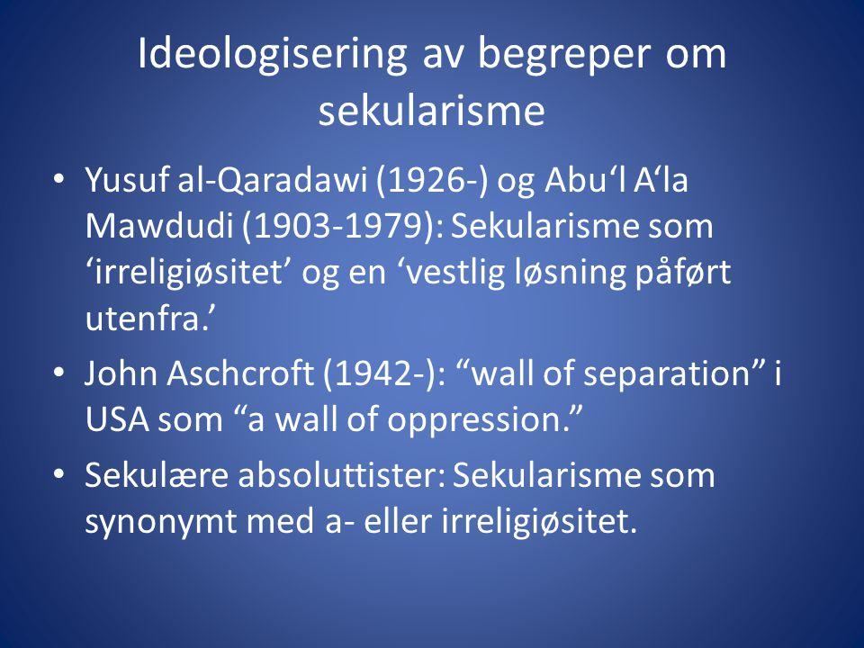 Ideologisering av begreper om sekularisme