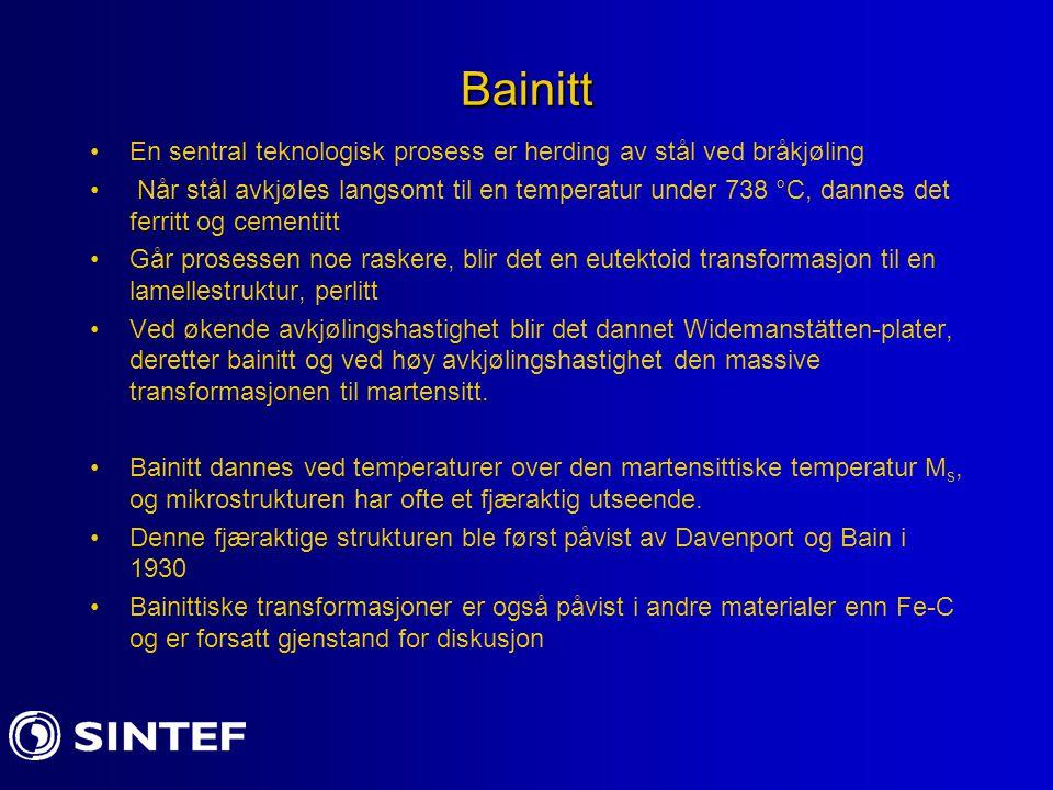 Bainitt En sentral teknologisk prosess er herding av stål ved bråkjøling.