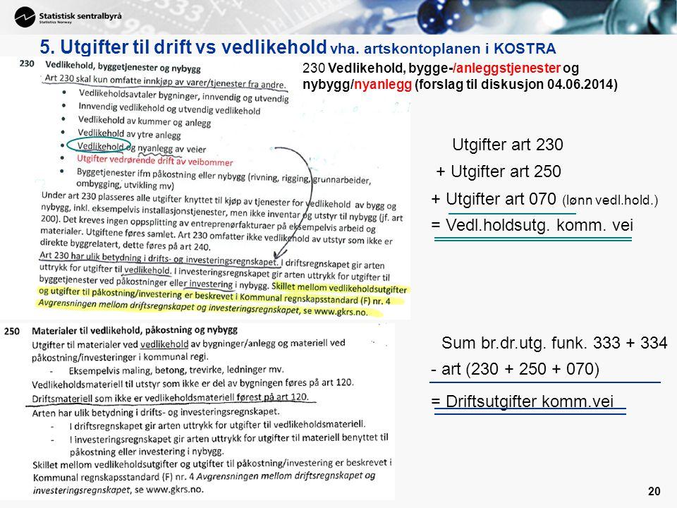 5. Utgifter til drift vs vedlikehold vha. artskontoplanen i KOSTRA