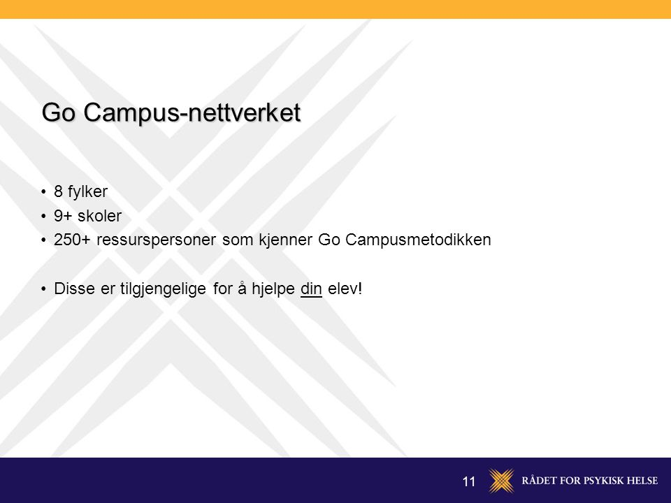 Go Campus-nettverket 8 fylker 9+ skoler