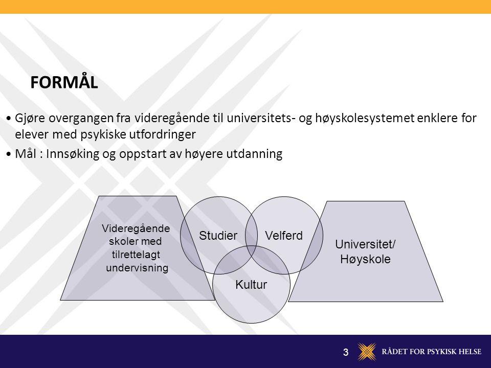 FORMÅL Gjøre overgangen fra videregående til universitets- og høyskolesystemet enklere for elever med psykiske utfordringer.