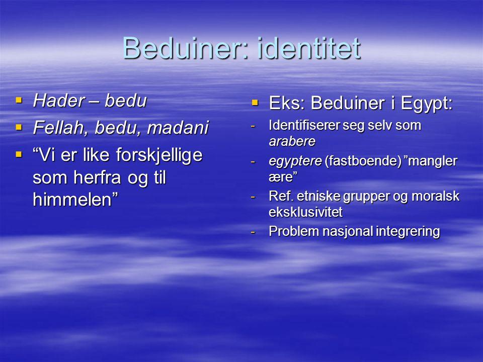 Beduiner: identitet Hader – bedu Eks: Beduiner i Egypt:
