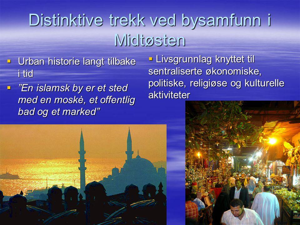 Distinktive trekk ved bysamfunn i Midtøsten