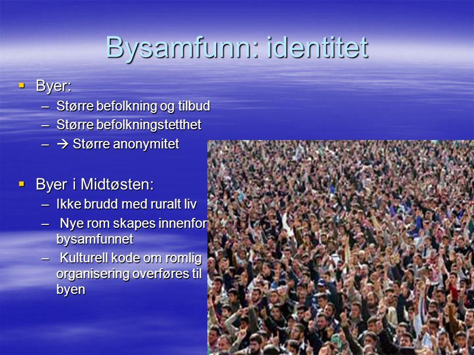 Bysamfunn: identitet Byer: Byer i Midtøsten: