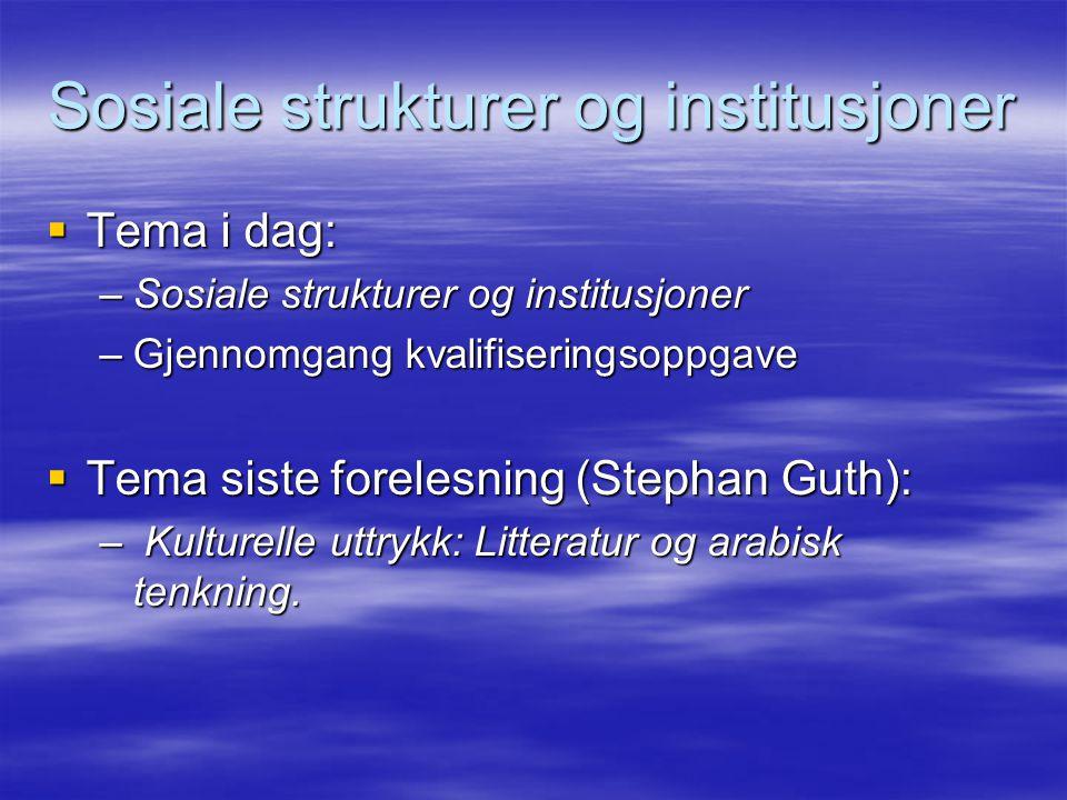 Sosiale strukturer og institusjoner