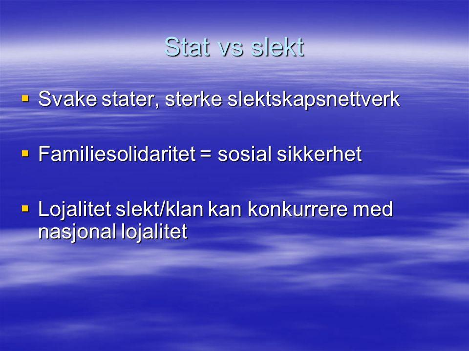 Stat vs slekt Svake stater, sterke slektskapsnettverk