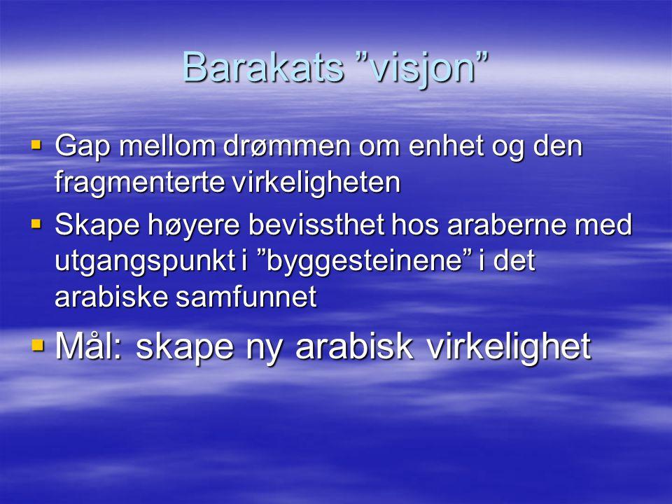 Barakats visjon Mål: skape ny arabisk virkelighet