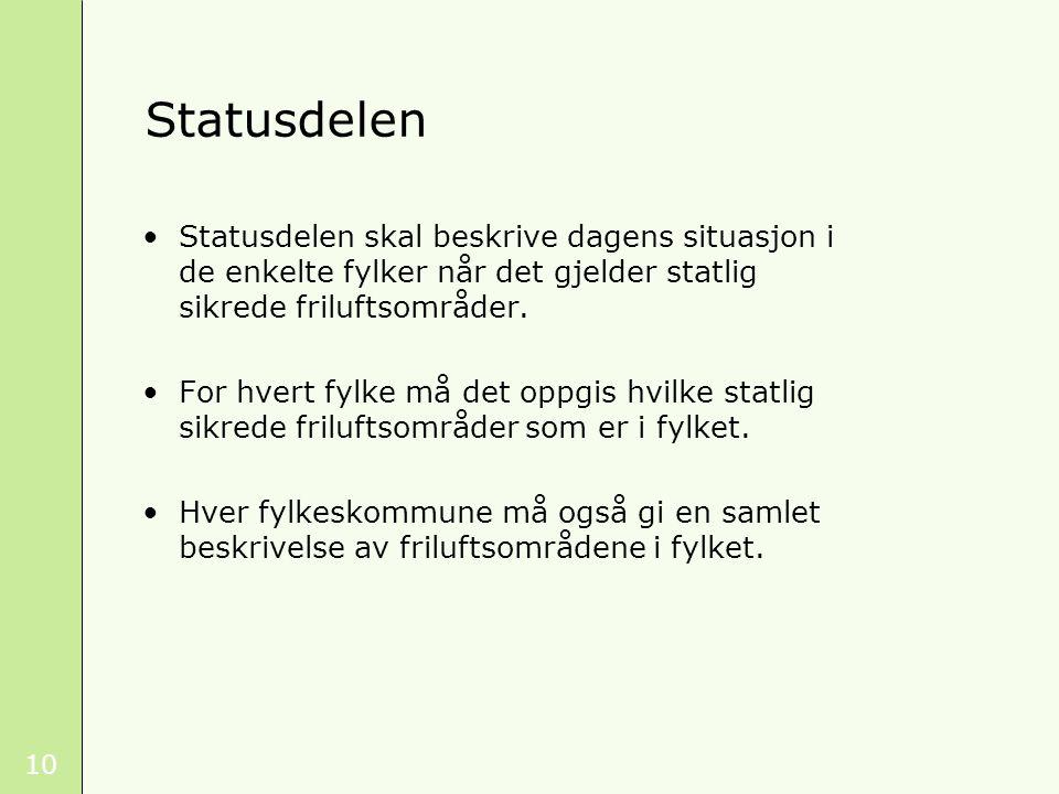 Statusdelen Statusdelen skal beskrive dagens situasjon i de enkelte fylker når det gjelder statlig sikrede friluftsområder.