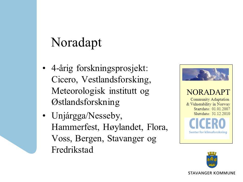 Noradapt 4-årig forskningsprosjekt: Cicero, Vestlandsforsking, Meteorologisk institutt og Østlandsforskning.