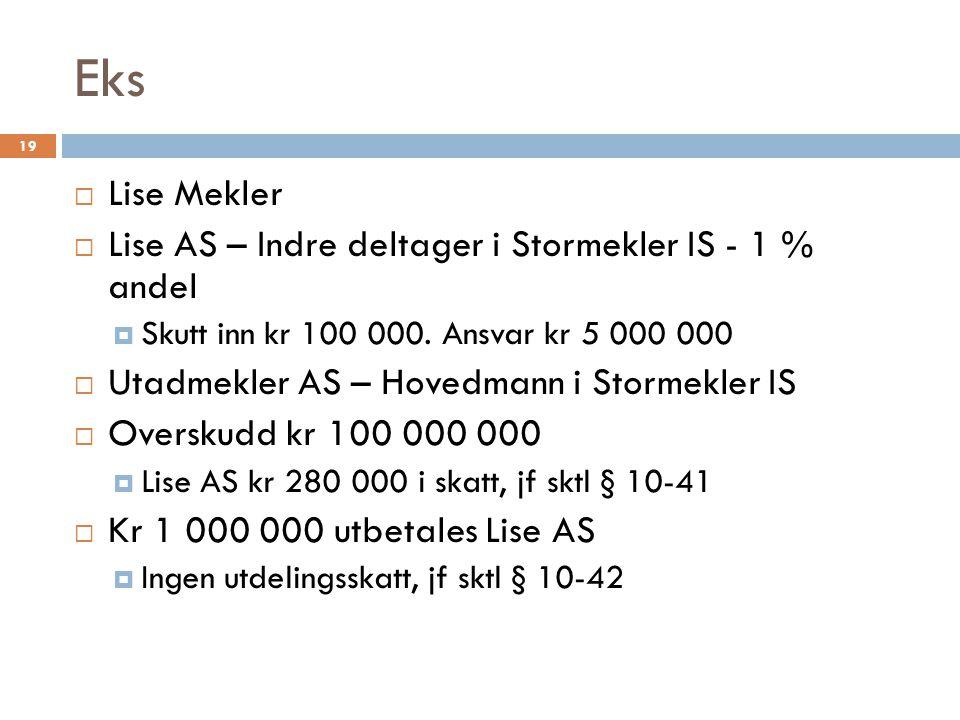 Eks Lise Mekler Lise AS – Indre deltager i Stormekler IS - 1 % andel