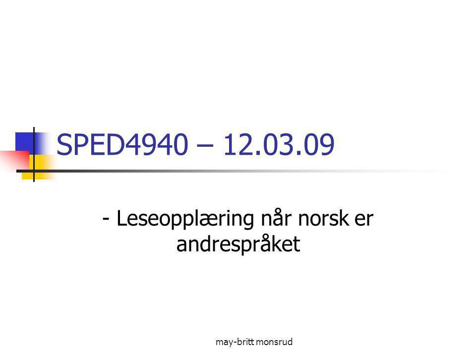 - Leseopplæring når norsk er andrespråket