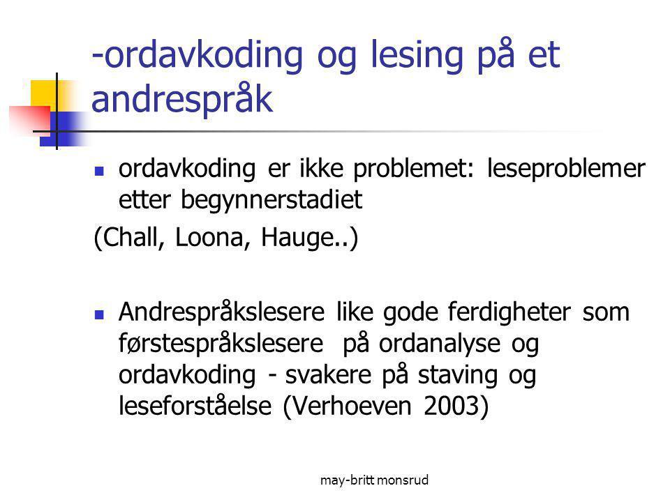 -ordavkoding og lesing på et andrespråk