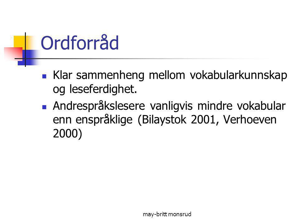 Ordforråd Klar sammenheng mellom vokabularkunnskap og leseferdighet.