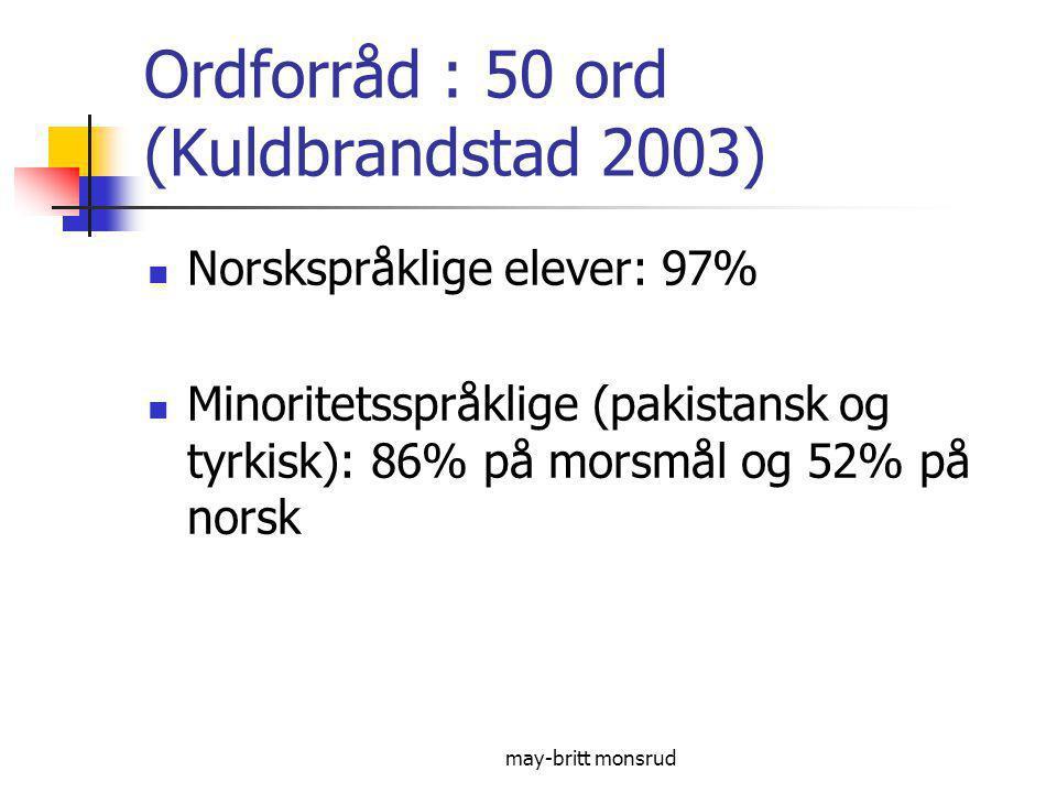 Ordforråd : 50 ord (Kuldbrandstad 2003)