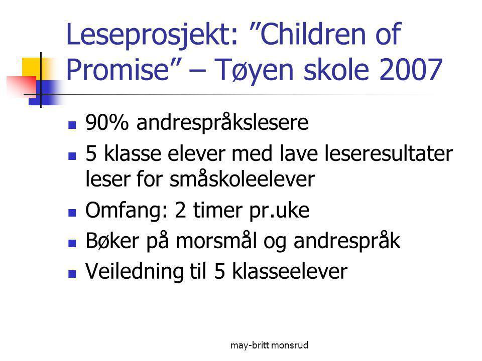 Leseprosjekt: Children of Promise – Tøyen skole 2007