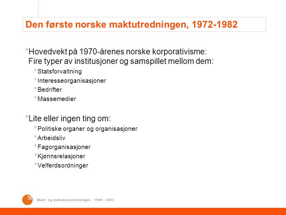 Den første norske maktutredningen, 1972-1982