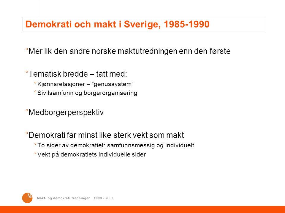 Demokrati och makt i Sverige, 1985-1990
