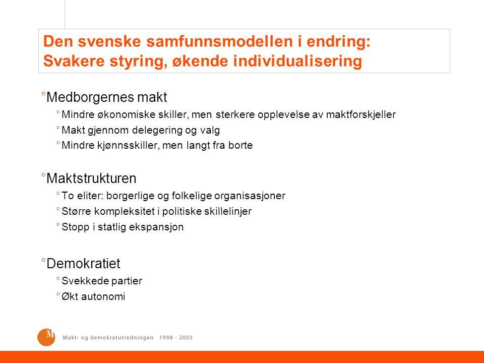 Den svenske samfunnsmodellen i endring: Svakere styring, økende individualisering