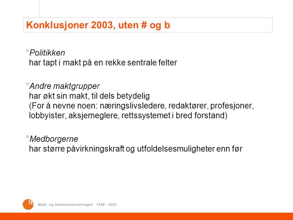 Konklusjoner 2003, uten # og b