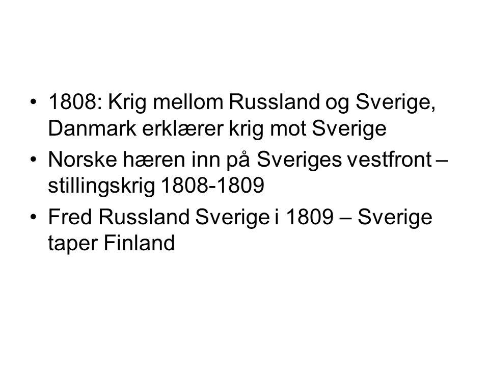1808: Krig mellom Russland og Sverige, Danmark erklærer krig mot Sverige