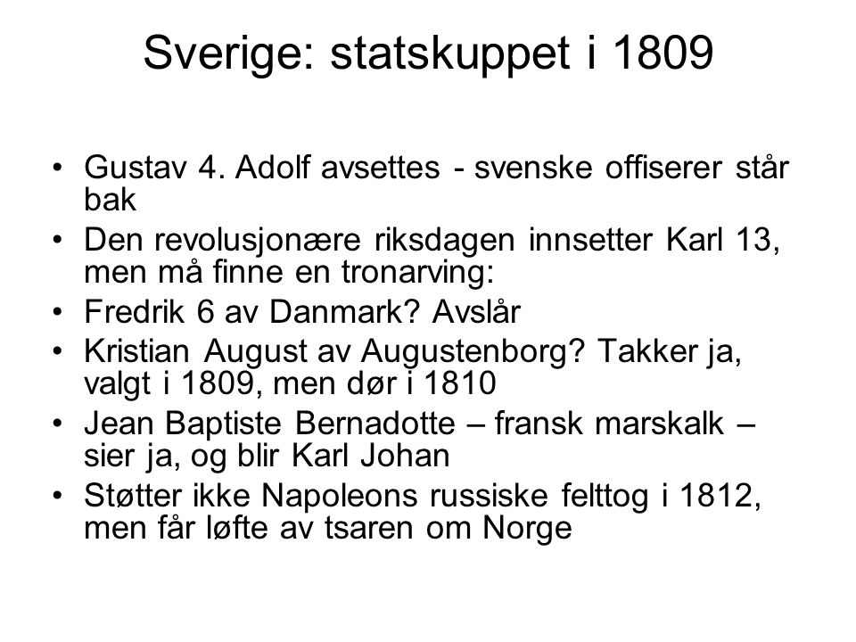 Sverige: statskuppet i 1809