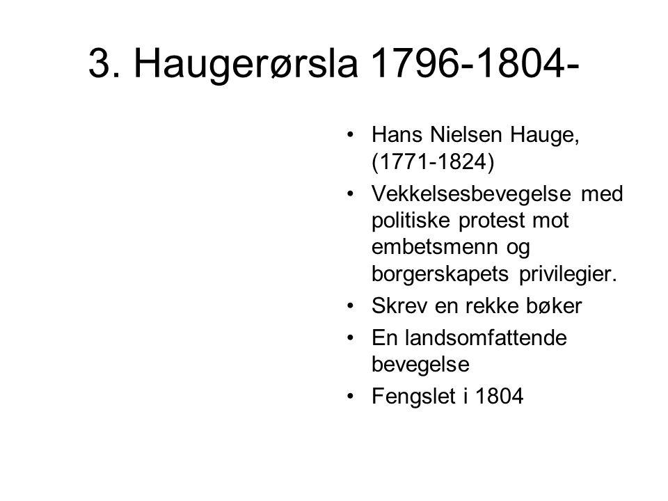 3. Haugerørsla 1796-1804- Hans Nielsen Hauge, (1771-1824)