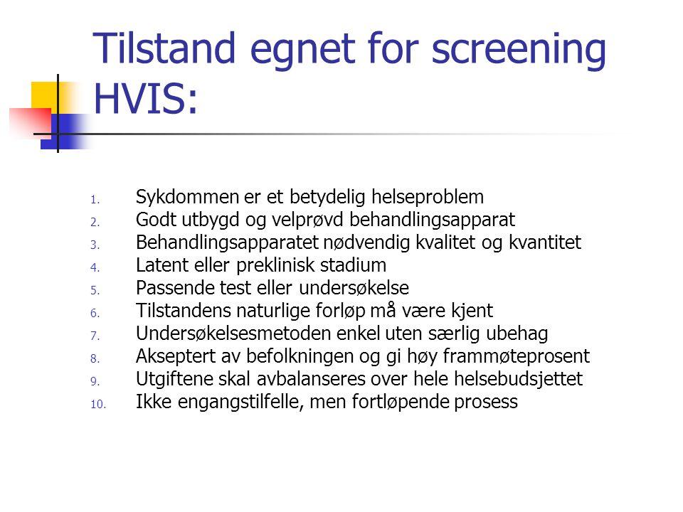 Tilstand egnet for screening HVIS: