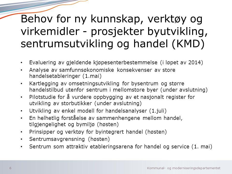Behov for ny kunnskap, verktøy og virkemidler - prosjekter byutvikling, sentrumsutvikling og handel (KMD)
