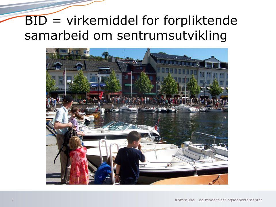 BID = virkemiddel for forpliktende samarbeid om sentrumsutvikling