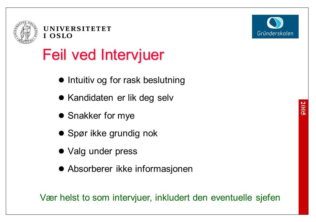 Feil ved Intervjuer Intuitiv og for rask beslutning
