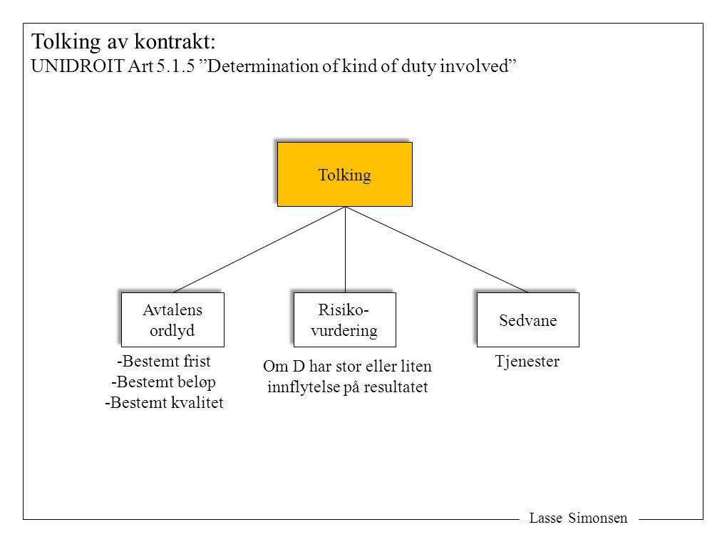 Tolking av kontrakt: UNIDROIT Art 5.1.5 Determination of kind of duty involved Tolking. Avtalens.