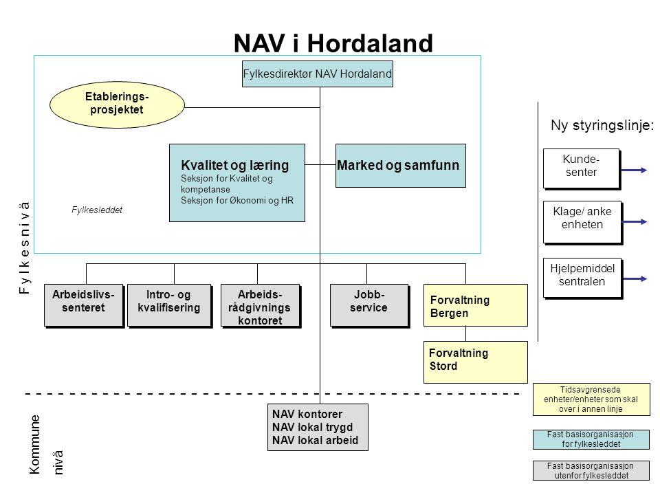 NAV i Hordaland Fylkesdirektør NAV Hordaland. Fylkesdirektør NAV Hordaland. Etablerings- prosjektet.