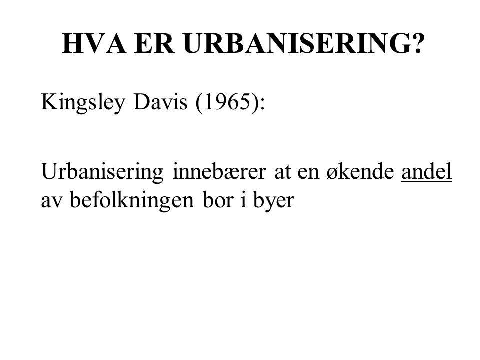 HVA ER URBANISERING Kingsley Davis (1965):