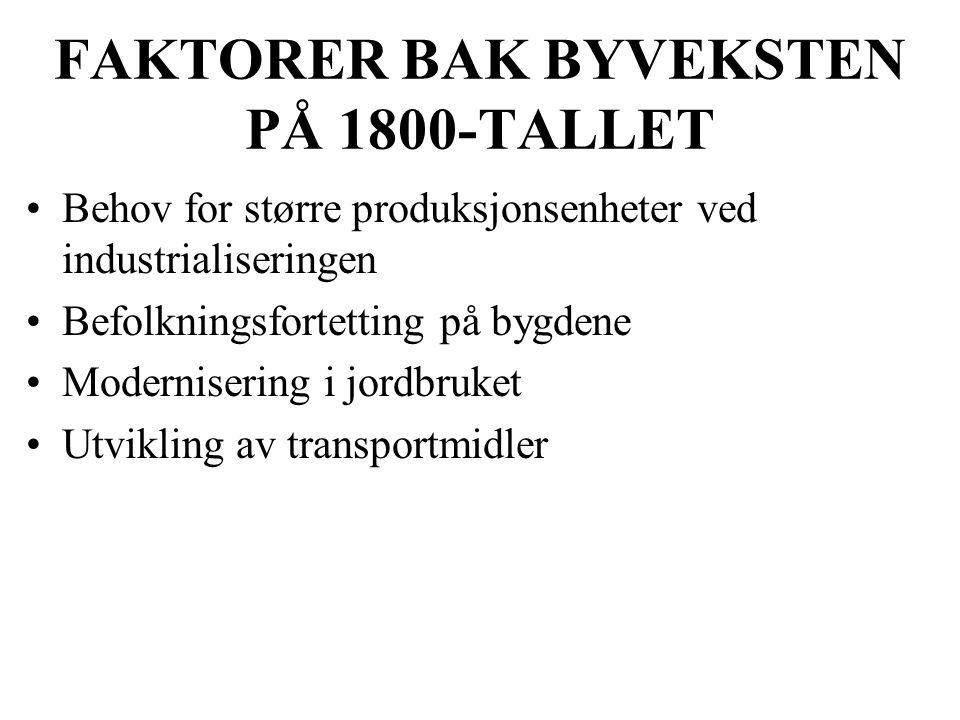 FAKTORER BAK BYVEKSTEN PÅ 1800-TALLET