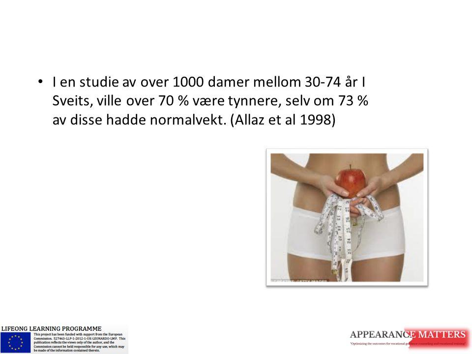 I en studie av over 1000 damer mellom 30-74 år I Sveits, ville over 70 % være tynnere, selv om 73 % av disse hadde normalvekt.
