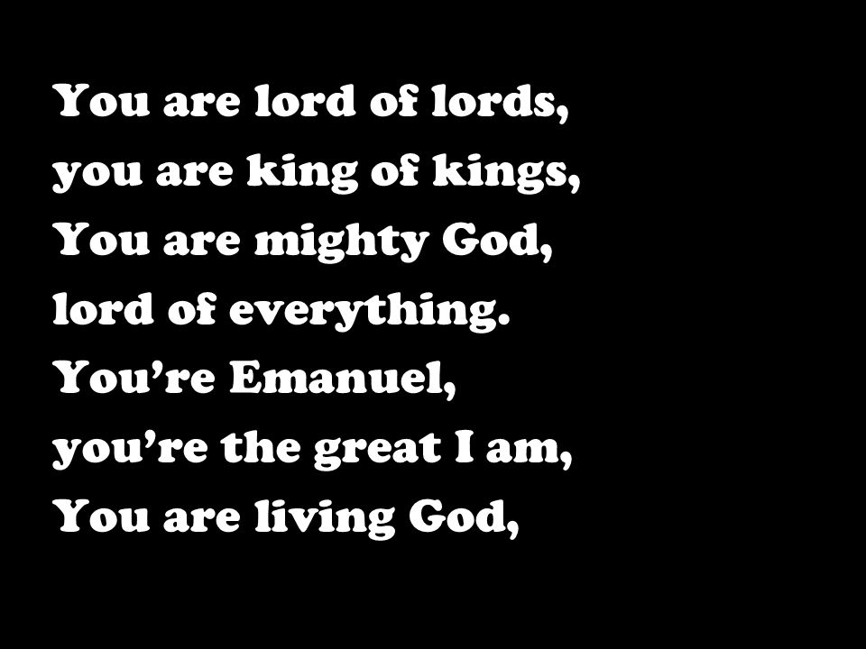 You are lord of lords, you are king of kings, You are mighty God, lord of everything. You're Emanuel,