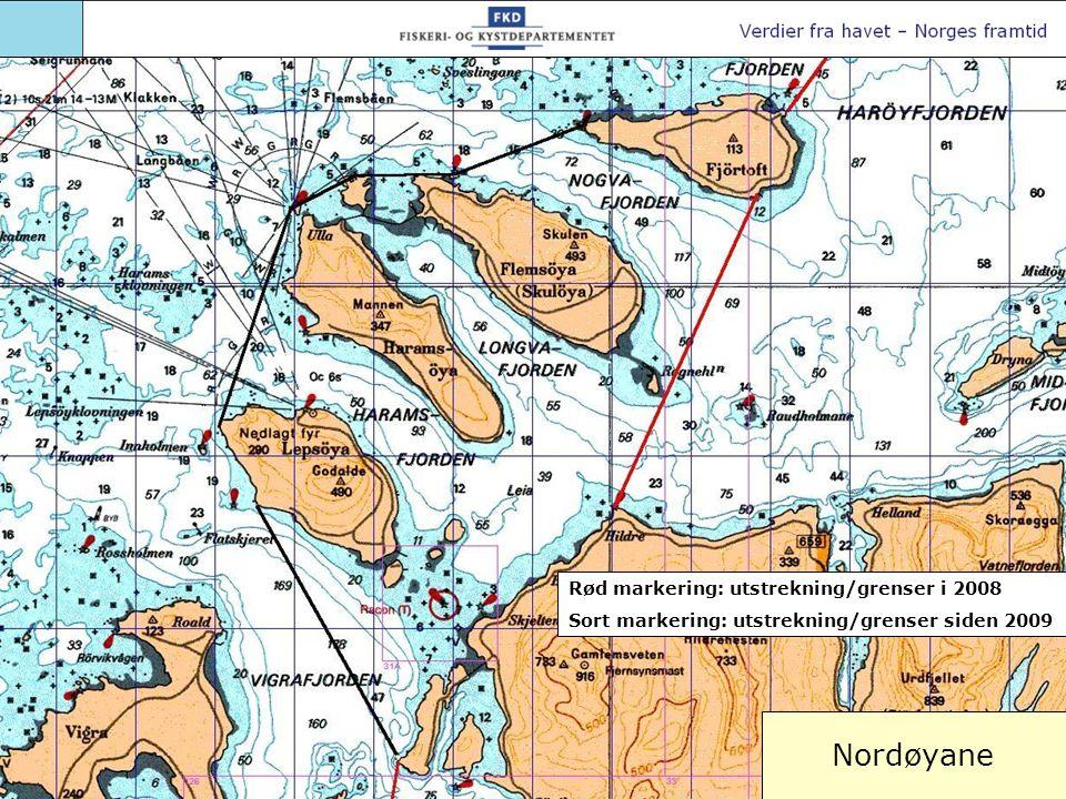 Nordøyane Rød markering: utstrekning/grenser i 2008