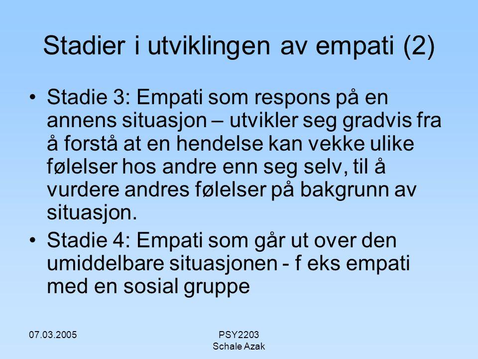 Stadier i utviklingen av empati (2)
