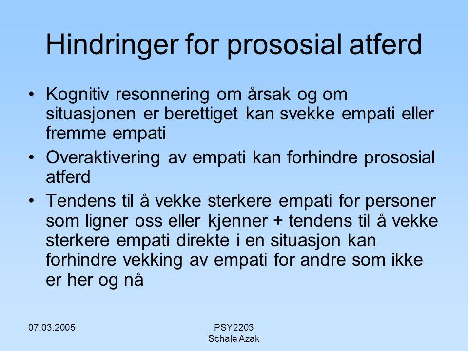 Hindringer for prososial atferd