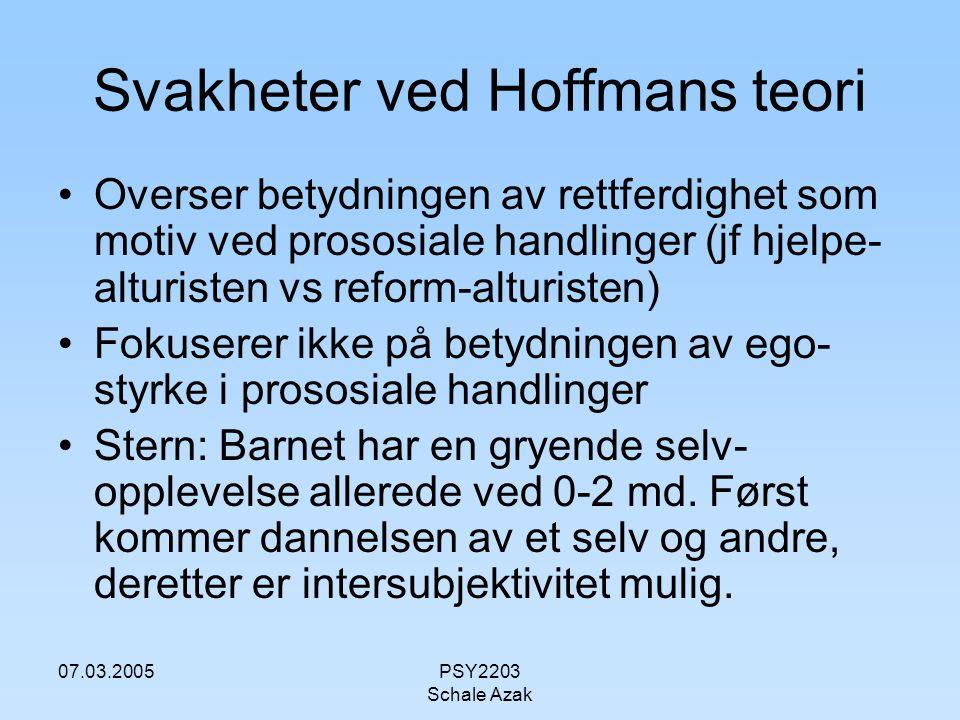 Svakheter ved Hoffmans teori