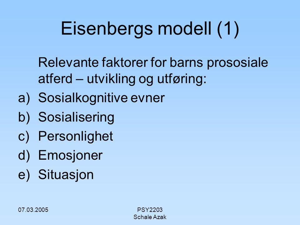 Eisenbergs modell (1) Relevante faktorer for barns prososiale atferd – utvikling og utføring: Sosialkognitive evner.